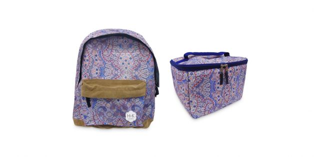 Set mochila estampada y lunchera con cooler estampada azul