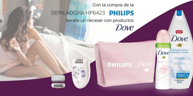 Depiladora Philips Satinelle + Kit Dove