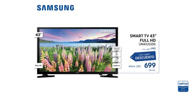 Led Smart TV Samsung 43 FULL HD UN43J5200