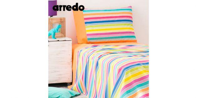 Juego de sábanas 1 plaza y media Franja Colores