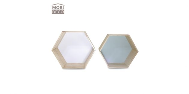 Set x 2 repisas de pared hexagonales madera Mobideco