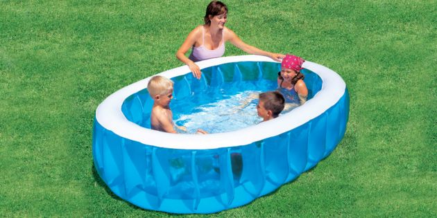 Piscina inflable rectangular de 2 anillos