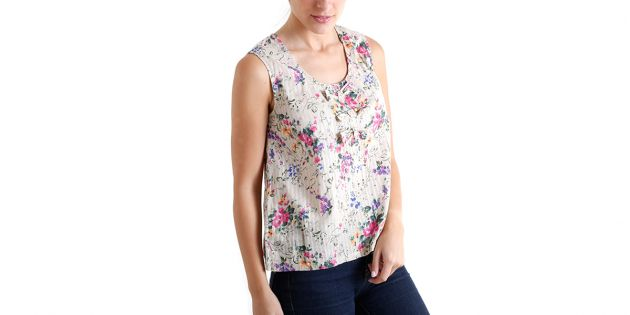 Blusa Old Navy moñas Flores Beige