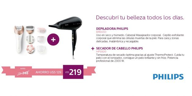 Depiladora Philips Advanced Prestige + Secador Philps