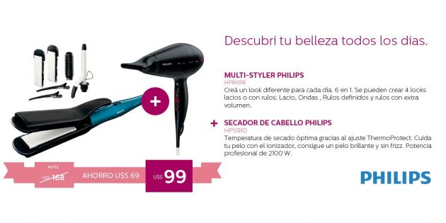 Planchita Multi-Styler Philips + Secador Philips