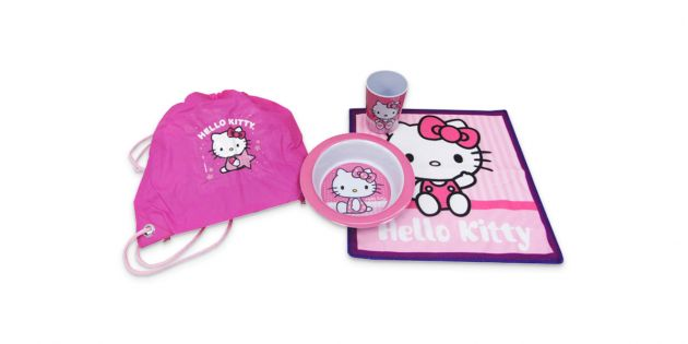 Set social, bowl,vaso y bolsa de merienda Kitty