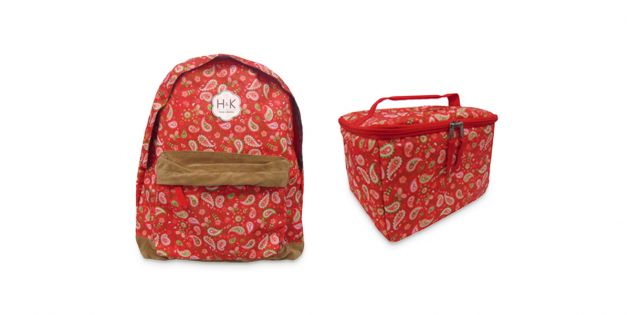 Set mochila estampada y lunchera con cooler estampada rojo